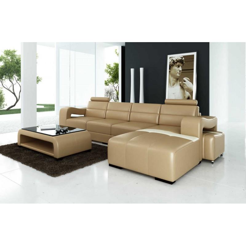 Relax Contemporary Italian Corner Sofa In Cream Leather: Mia Italian Designer Leather Corner Sofa