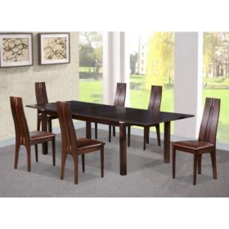 Tremendous Arizona Dining Set With 6 Solid Beech Chairs Dark Walnut Interior Design Ideas Ghosoteloinfo